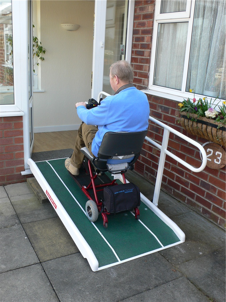Wheelchair And Scooter Ramp With Handrail Foldable