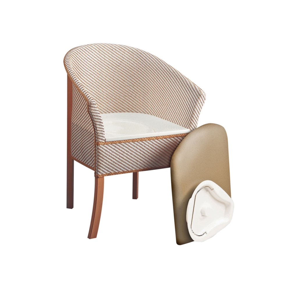 Basketweave Commode Chair With Woven Fibre Upholstery