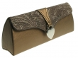 Glasses Case Silver Heart Design Metallic Brown