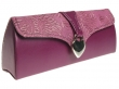 Glasses Case Silver Heart Design Purple