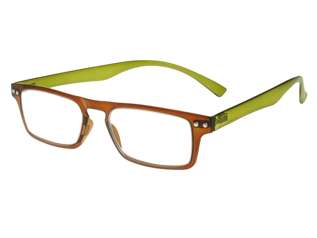 Glasses Frames Green : Mod Brown/Green Frame Reading Glasses