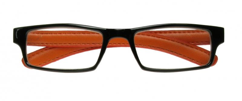 Eyeglass Frame Board Management : Prague Black/Orange Frame Reading Glasses With Case.