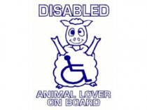 Cute Car Window Notice, Disabled Animal Lover On Board