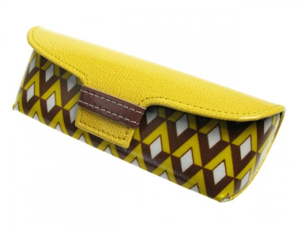 Glasses Case Bright Art Deco Retro Style Yellow/Brown