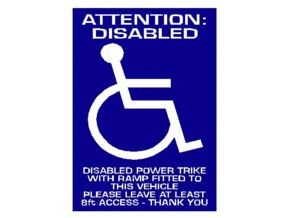 Attention Disabled, Car Window Notice