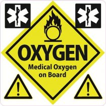 Medical Oxygen on Board Sticker