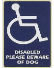 Disabled Please Be Aware Of Dog - Interior Car Sticker.